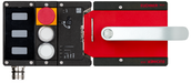 MGB2-L1H-BR-U-S1-DY-R-161786<br>Komplettset MGB2-L1...-BR (M23, 2 Drucktaster, Not-Halt, Ruhestromprinzip, Türanschlag rechts)